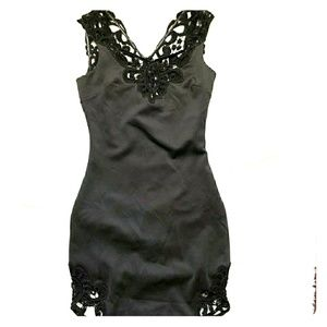Dress the population black Crochet lace dress